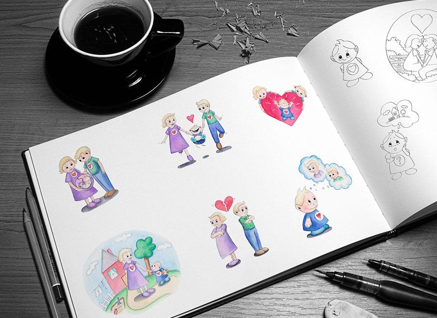 Tegninger til Lille Gub