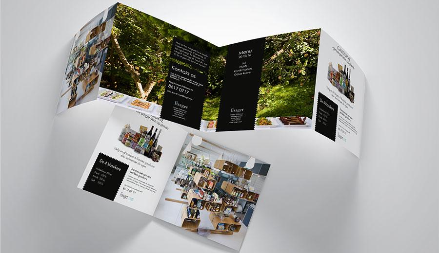 Brochure bagside og foldet