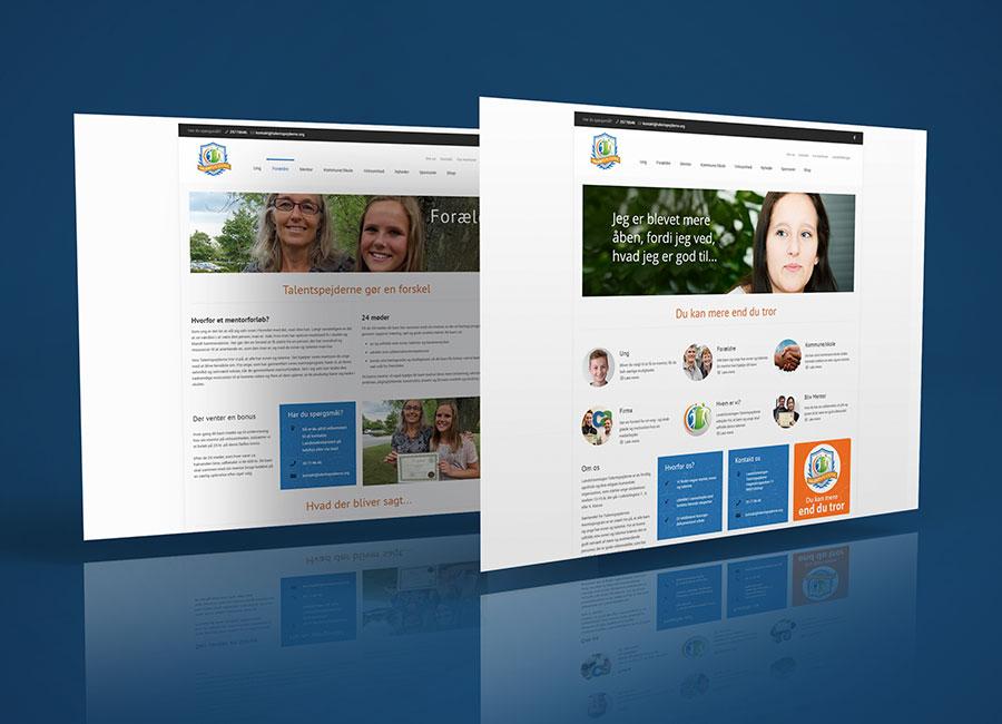 Til højre Talentspejderne website forside. Til venstre anden side.