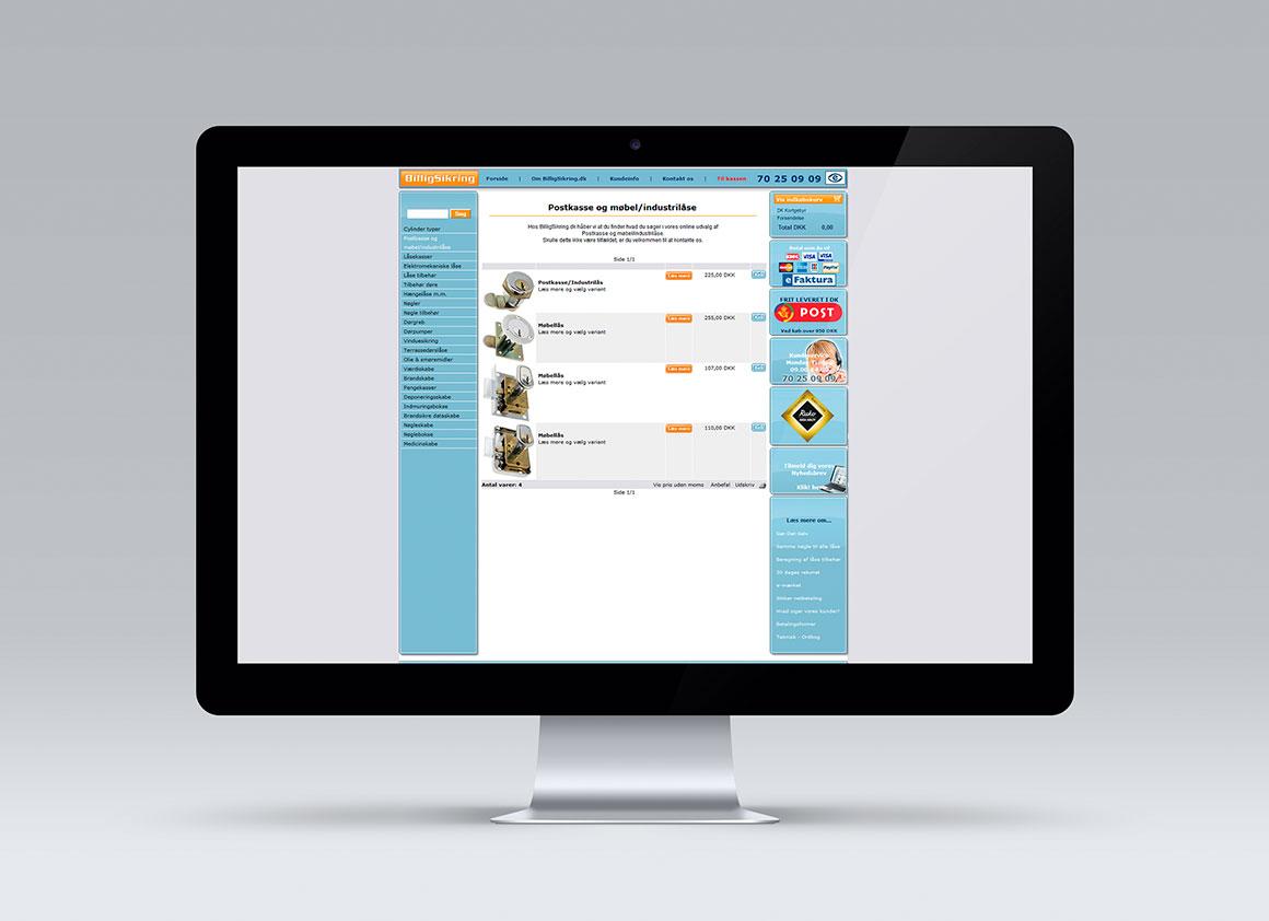 Billigsikring webshopdesign FØR