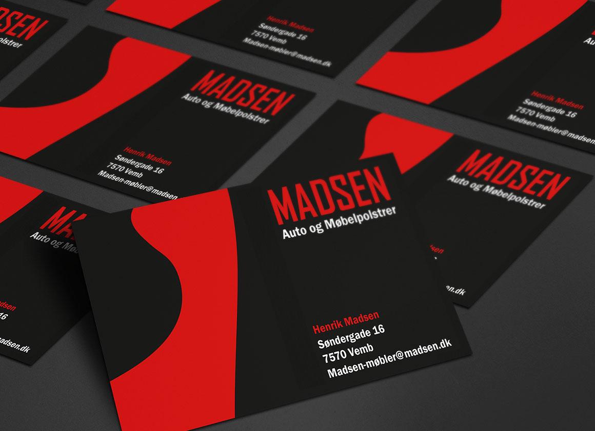 Madsen Auto og Møbelpolstrer visitkort