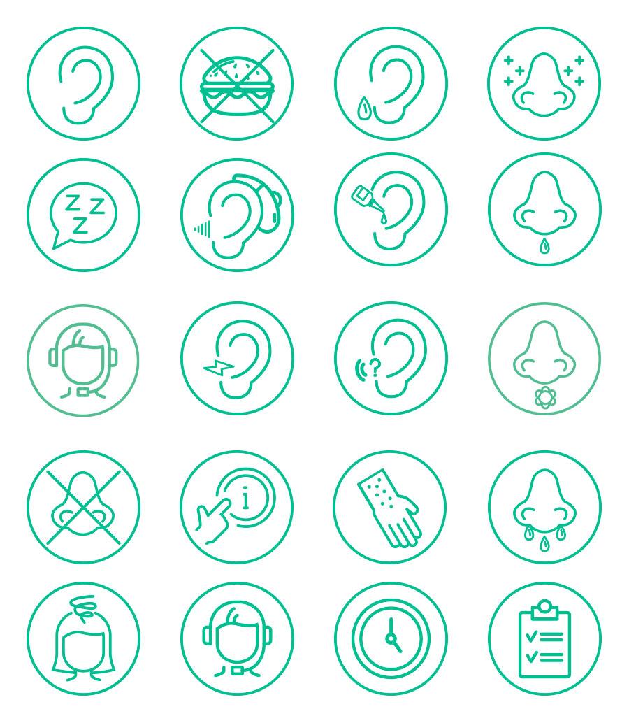 Eksempler på ikoner til websitet